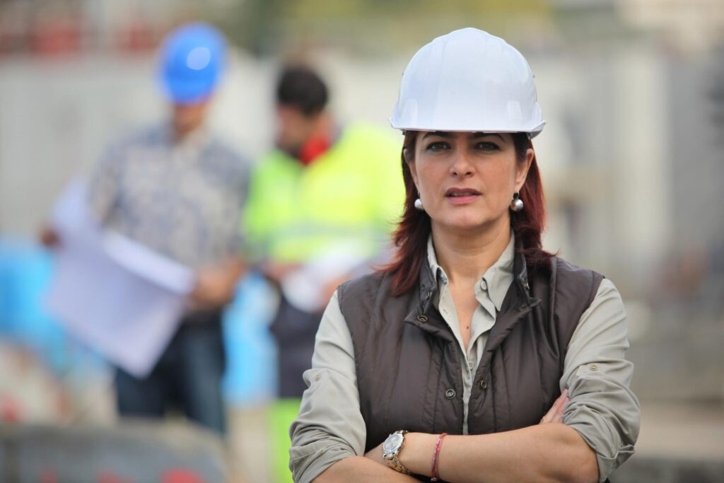 lady with her hard hat